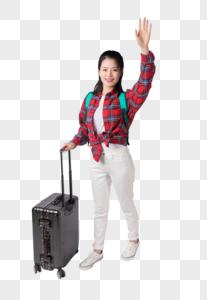 拉着行李箱的年轻女生图片