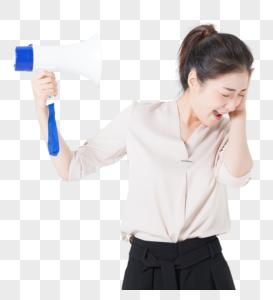商务女性拒绝喇叭噪音图片
