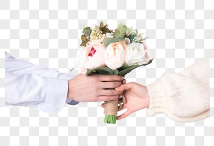 情侣情人节送花局部特写图片