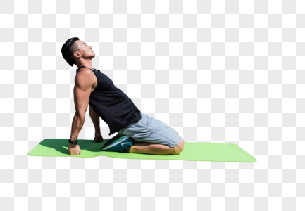 男子江边运动健身图片