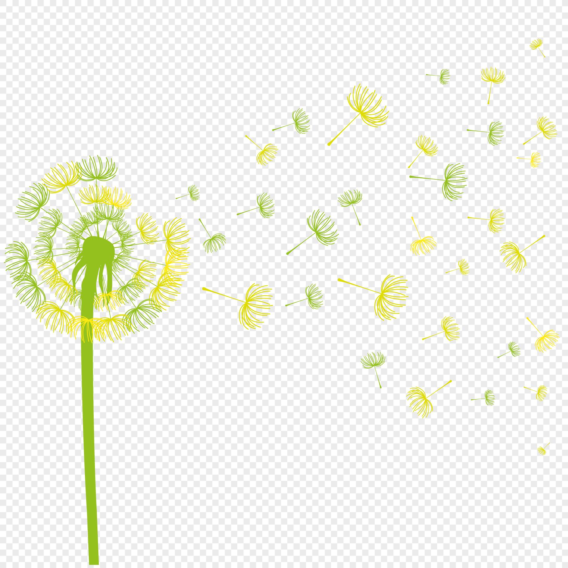 创意合成手绘蒲公英效果花朵