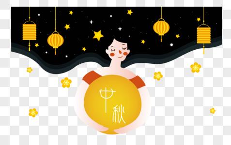中秋节女孩图片