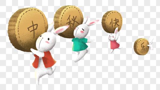 扛着月饼的玉兔图片