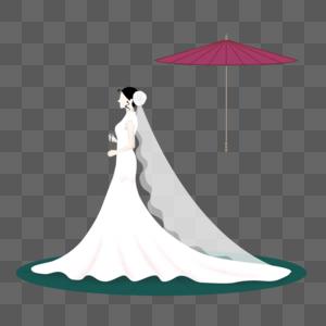 新娘撑伞元素图片