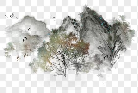 国画水墨写意山水背景元素素材图片