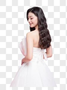 小清新美女穿婚纱图片