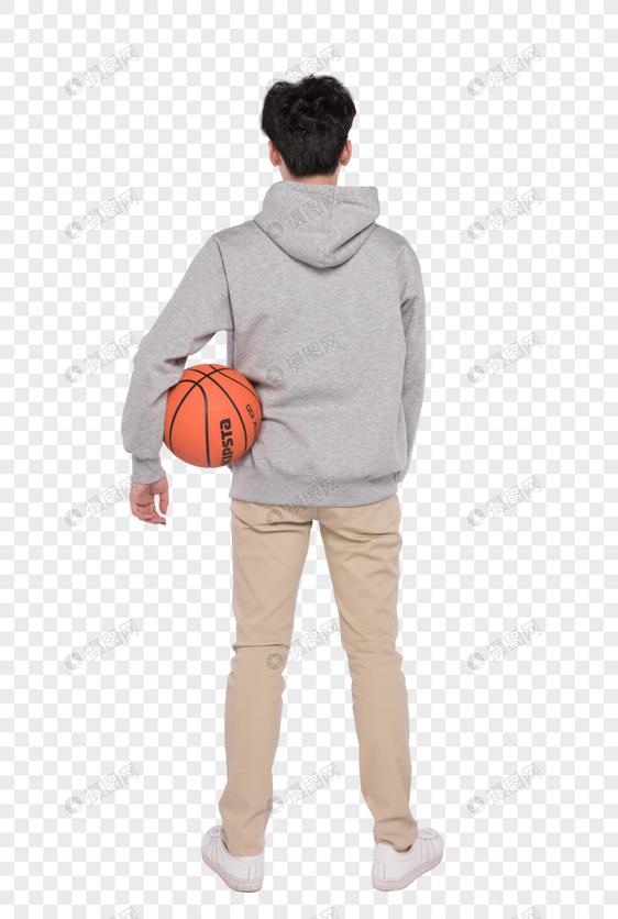 拿着篮球的男生背影图片