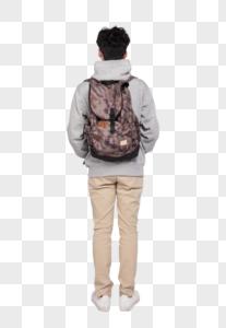 背着书包的男生背影图片