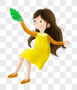 拿着树叶的小女孩图片