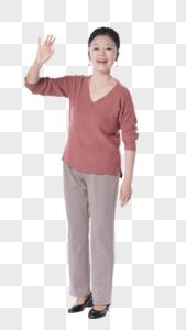 老年女性打招呼图片