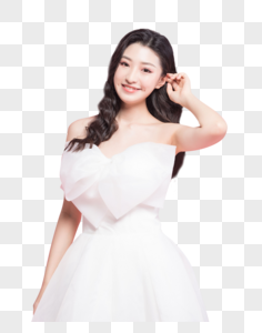 甜美女性穿白色婚纱图片