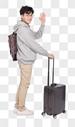 拉着行李箱打招呼的年轻人图片