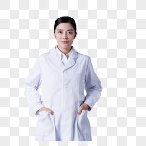 穿白大褂的女医生形象展示棚拍图片