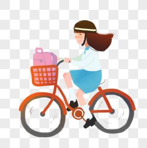 骑自行车上学的学生图片