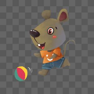 手绘踢球的小老鼠图片