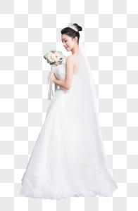新娘穿婚纱拿手捧花图片