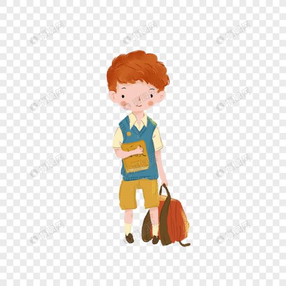 开学季男孩手绘素材