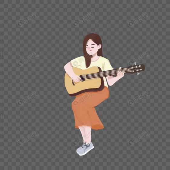 手绘弹吉他的女孩