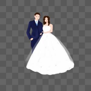 手绘结婚的新人图片
