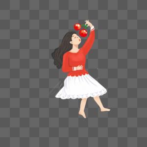 手绘穿裙子的小女孩图片