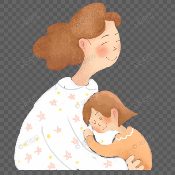 手绘母亲抱着孩子