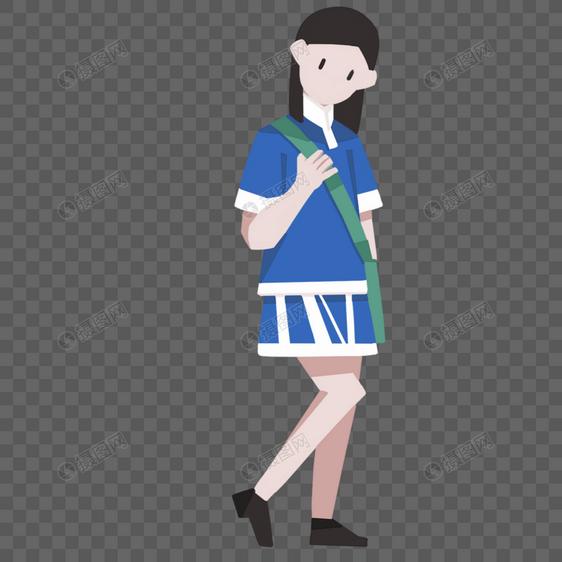 手绘穿学生装的女孩