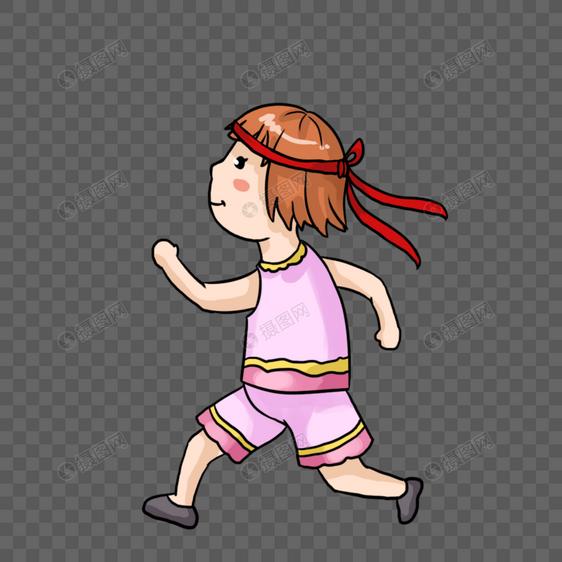 手绘跑步的小女孩