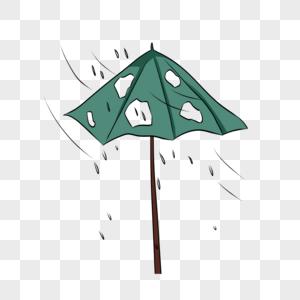 手绘残破的雨伞图片