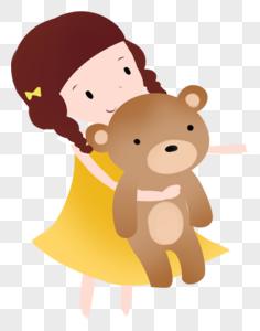 女孩抱小熊图片
