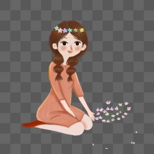 手绘花儿仙女图片