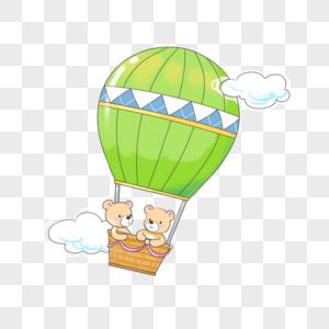 小熊坐热气球图片