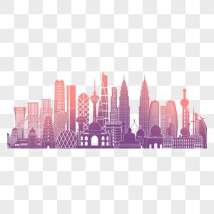 城市高楼建筑剪影图片