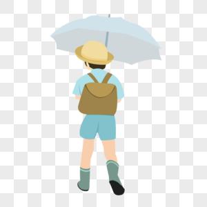 小孩打伞图片