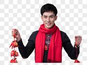新年喜庆男士人像手持福袋图片