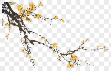 水墨黄梅梅花元素图片