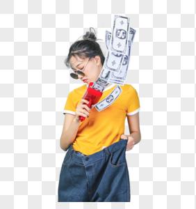 青年时尚女性手持喷钱枪图片
