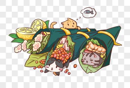 猫咪手卷寿司图片