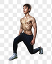 健身房强壮男性深蹲运动图片