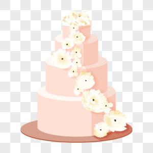 粉色浪漫婚礼蛋糕图片