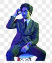 商务男性色彩创意休闲坐姿图片