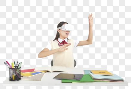 高中生女高中形象虚拟现实动作图片