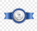 银色蓝带质感等级勋章图片