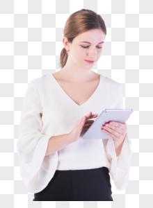 外国女性白领展示平板电脑图片