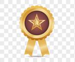 金色星星等级勋章图片