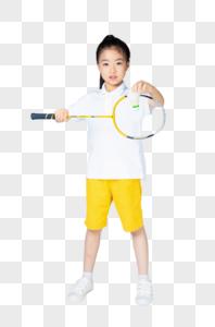 打羽毛球的小女孩图片