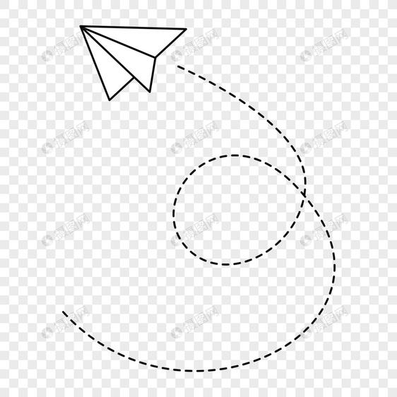 手绘卡通飞机虚线