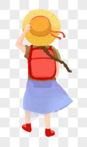 戴帽子背包小女孩图片