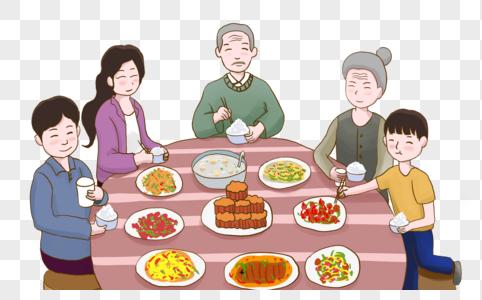 中秋一家人共进晚餐图片