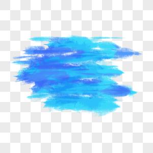 蓝色水彩涂鸦笔刷图片