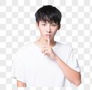 青年男性轻声说话手势图片